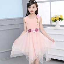 цена на New Summer Girls Clothes Sleeveless Dress For Girls Chiffon Flower Dress Kids Party Wedding Dresses Children Girl Princess Dress