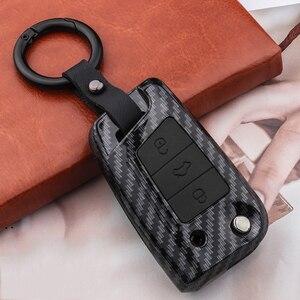 Image 3 - سيليكون ألياف الكربون ABS ماتي سيارة حقيبة غطاء للمفاتيح ل Volkswagen VW Golf7 mk7 مقعد إيبيزا ليون FR 2 ألتيا ازتيك لسكودا اوكتافيا