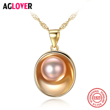 AGLOVER New 925 Sterling Silver Necklace Pearl Shell Pendant Women Jewelry Natural Freshwater Pearl Necklace Chain Free Shipping