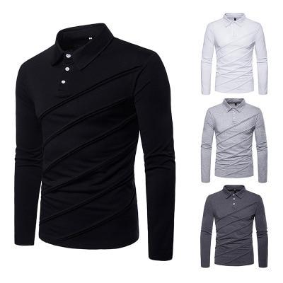 Men's polo shirt autumn and winter new fashion european size men's casual polo shirt stitching men's undershirt P045 2