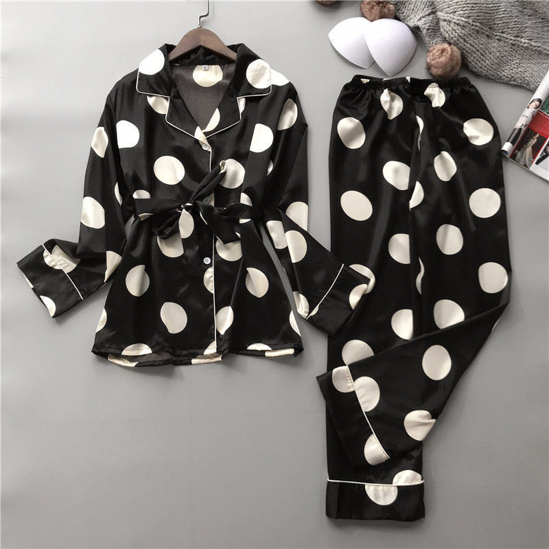 2019 Band Silk Pajamas Set Women Sexy Print Dot Summer Female Pyjamas Long Shirt 2Piece/Set Stitch Lingerie 2019 Home Sleepwear