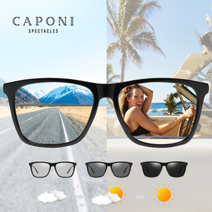 Image 1 - CAPONI Brand Unisex Retro Aluminum+TR90 Square Photochromic Sunglasses Polarized Coating Lens Vintage Sun Glasses For Men BS387