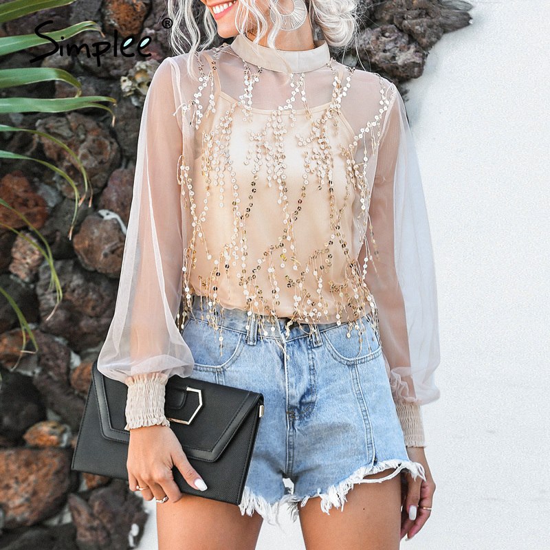 Simplee Patchwork Tassle Sequin Puff Sleeve Women Blouse Elegant Spring Female Casual Tops Shirt Party Club Slim Ladies Tops