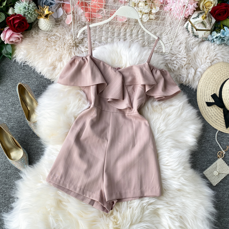 2020 Summer Holiday Women Jumpsuit Lotus Leaf Edge Wide-legged Chiffon Overalls Stripes Cross Straps