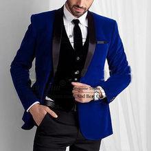 Royal Blue Velvet Men Suits for Wedding Wear Three Piece Shawl Lapel Trim Fit Groom Tuxedos Evening Dinner Suits Jacket Vest Black Pants(China)