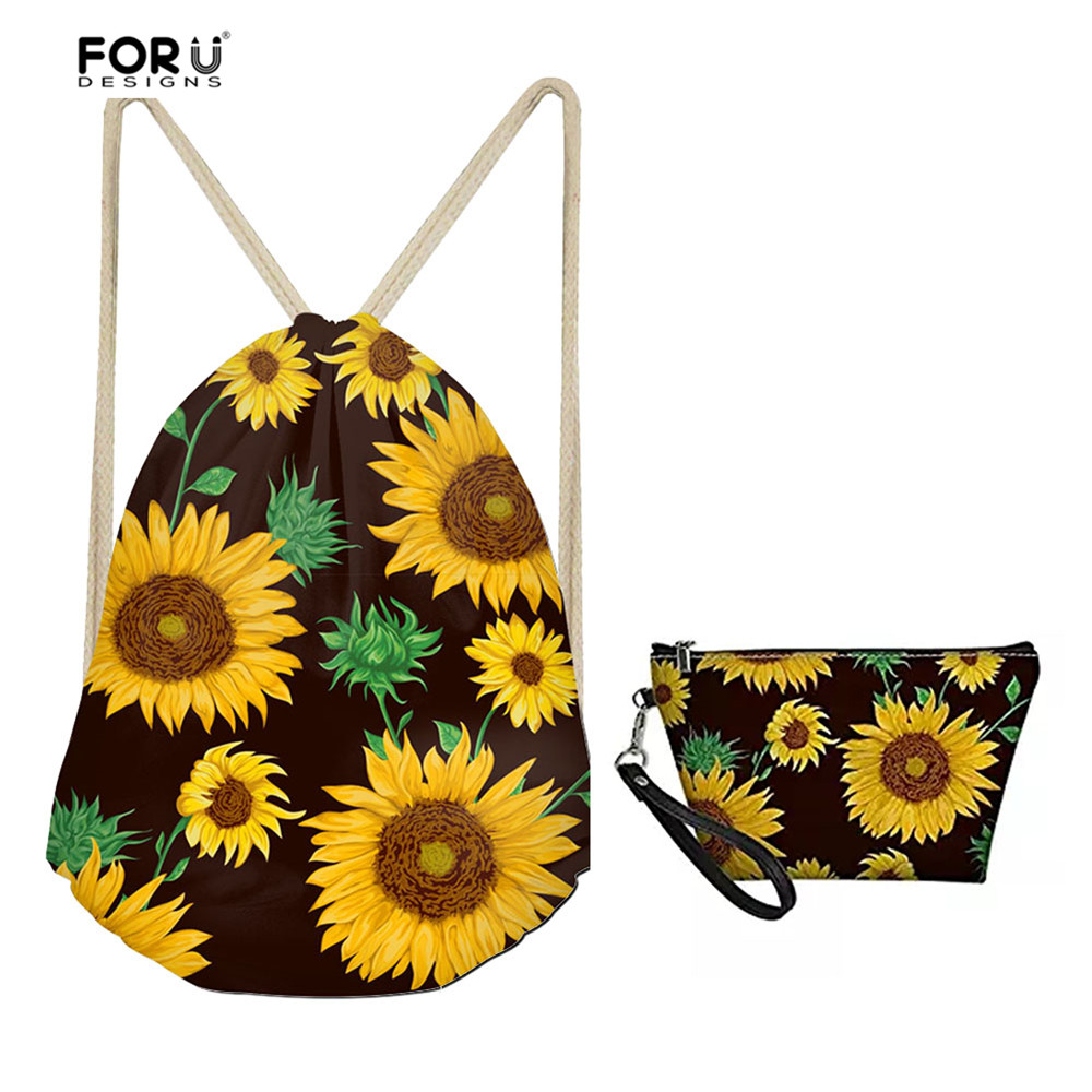 FORUDESIGNS Travel Accessories Drawstring Bag Sets For Women Casual Floral Sunflower Pattern School Girls Book Bags Storage Bags