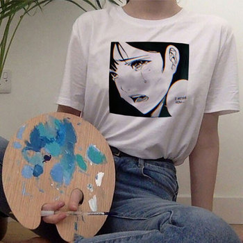 2019 Summer Japanese Streetwear Cartoon Printing Harajuku White T Shirt Hipster Aesthetic Anime Tumblr Gothic Women Tshirt Tops