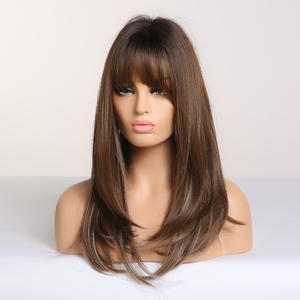 Image 4 - ALAN EATON Long Straight Synthetic Hair Wigs for Black Women Afro Ombre Black Brown Ash Blonde Cosplay Wig with Bangs Layered