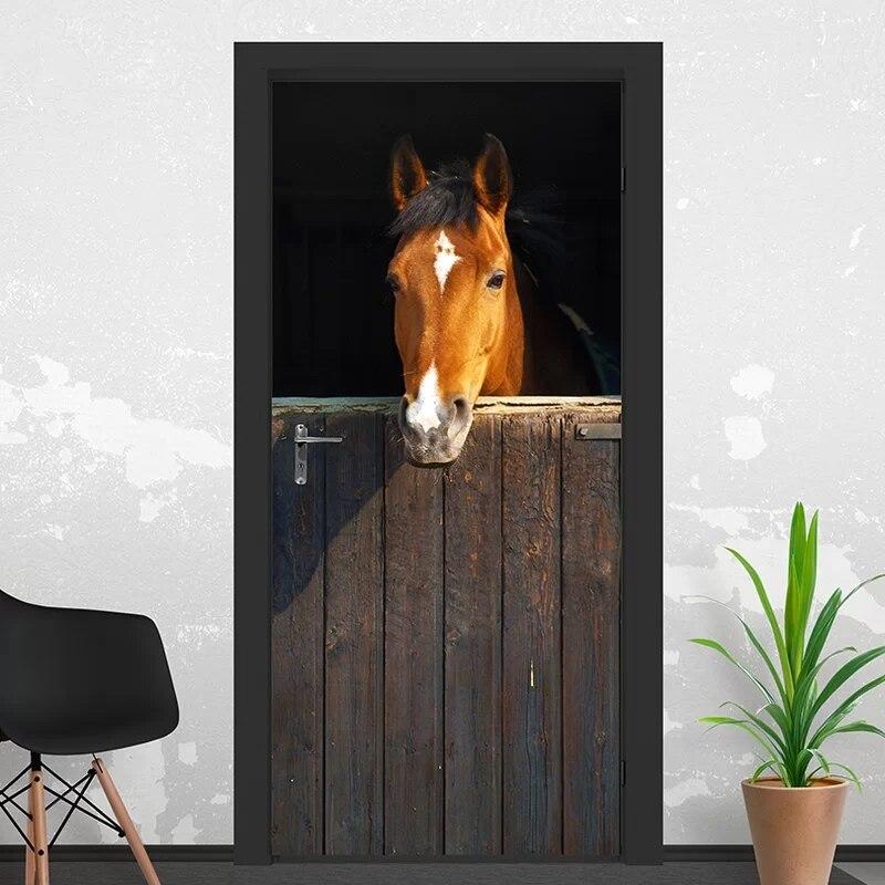 Self Adhesive Renew 3d Door Sticker Animal Horse Home Decoration Print Arts Waterproof Mural Wardrobe Renovation Decal Picture