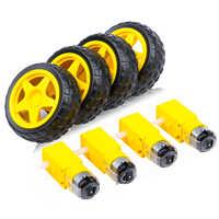 Motor eléctrico de CC + neumático de plástico para coche inteligente, 4 Uds., 3-6V, engranaje de doble eje, Motor de caja de cambios magnética TT para Arduino