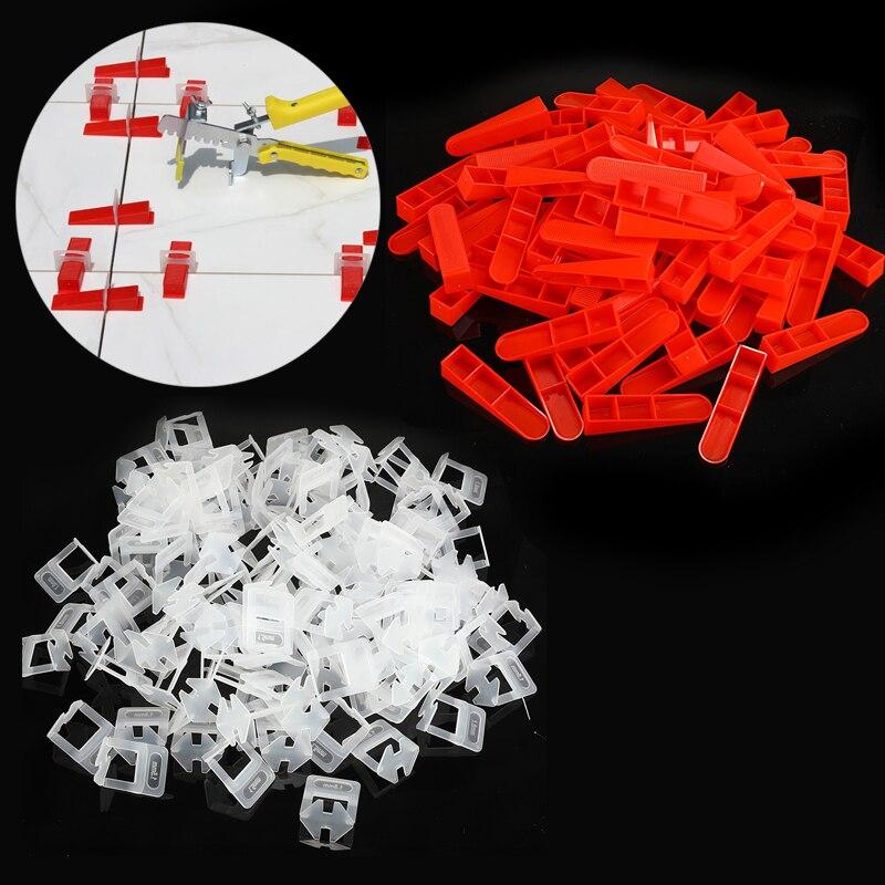 Sistema de nivelación de azulejos de cerámica de plástico de 300 piezas, 200 Clips y 100 cuñas 100 Uds. Herramientas de construcción de pared de piso de cerámica plana sistema de nivelación de azulejos reutilizable Kit de sistema de nivelación de azulejos