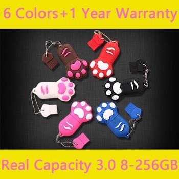 Real Capacity Cat Animals Claw 8GB 16GB USB 3.0 Flash Drive 32GB 64GB Pen Drive 1TB Creativo USB Pendrive 2TB Memory Stick Gift