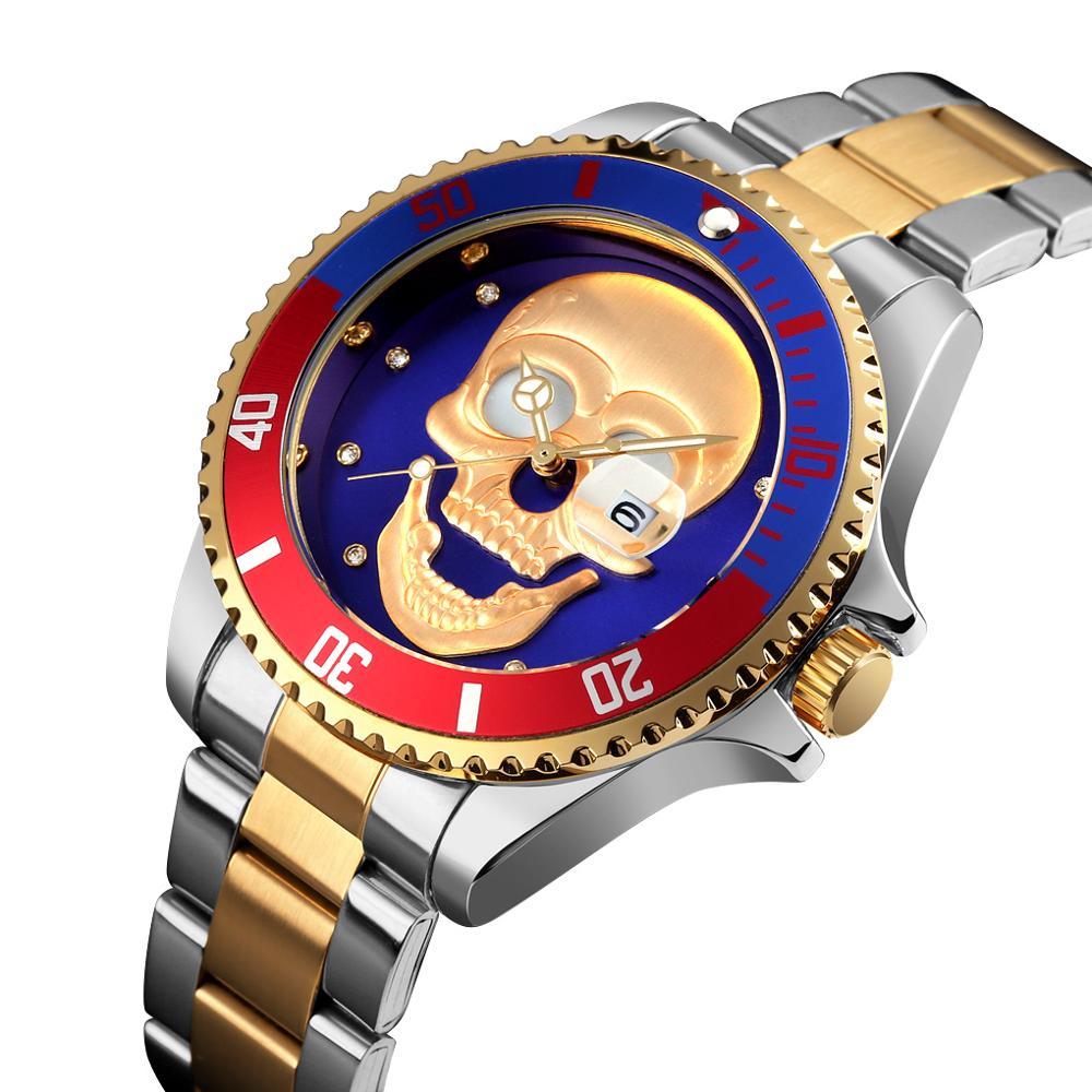 SKMEI Skull Men's Quartz Watch Men Stainless Steel Skeleton Creative Watches Male Clock Waterproof Wristwatch Relogio Masculino