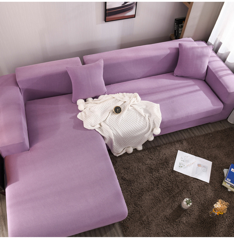 Solid Color Elastic Sofa Cover L-shape Sofa Furniture Protector Corner Sofa Covers for Living Room 1/2/3/4-seater Slipcovers image