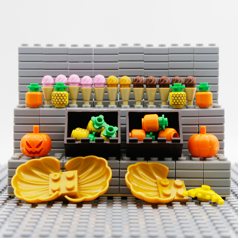 Bricks LegoINGly Friends Food Accessories Pineapple Ice Cream Pumpkin Sea Shell Toys  Creator Classic City Parts Building Blocks