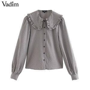 Image 1 - Vadim vrouwen mode basic plaid blouses peter pan kraag lange mouwen vrouwelijke toevallige zoete tops chic blusas mujer LB646