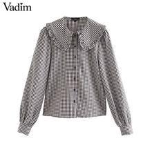 Vadim נשים אופנה בסיסי משובץ חולצות פיטר פן צווארון ארוך שרוול נשי מזדמן מתוק חולצות שיק blusas mujer LB646