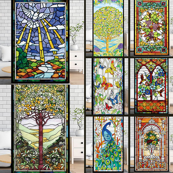 Frosted Privacy Window Film Stained Glass Retro European Church Style Colorful Stickers Shower Bathroom