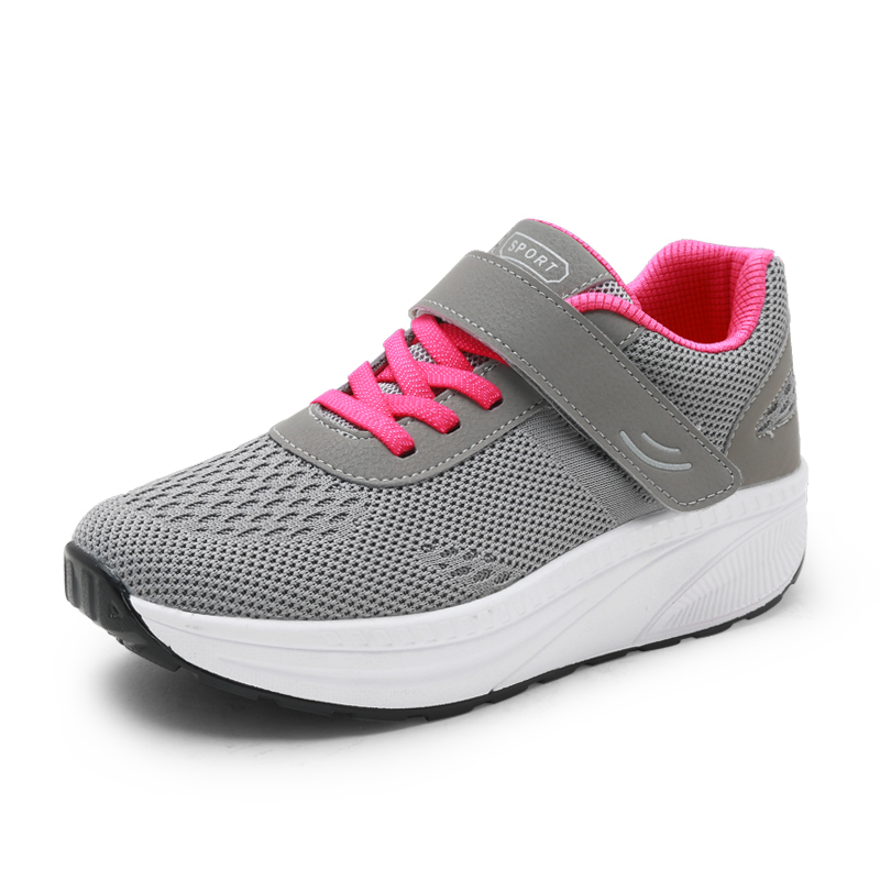 Women Toning Shoes Breathable Ladies Walking Flat Sneakers Gray Blue Women Height Increasing Wedge Heel Sneakers Thick Sole