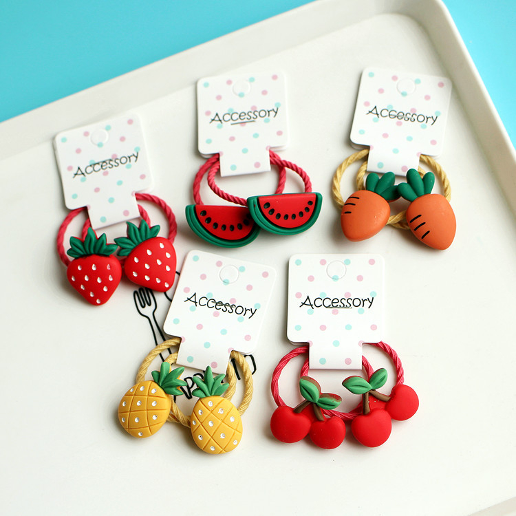 2PCS New Cartoon Cute Cherry Radish Princess Headwear Kids Elastic Hair Bands Children Ropes Girls Accessories Baby Headdress