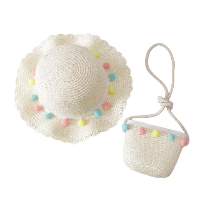 Summer Toddler Baby Kids Girls Breathable Sun Tassel Balls Straw Hat Beach Caps