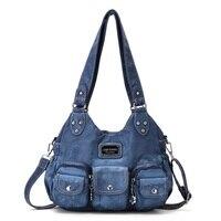 Angelkiss Fashion Hobo for Women, PU Messenger Handbag Tie Dye Top handle Bag M Tote Soft Satchel Shoulder Bag Front Pockets Bag