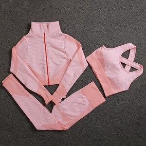 Sem costura conjuntos de yoga feminino esporte ginásio ternos wear correndo roupas de fitness feminino esporte ginásio conjunto de manga longa roupas de yoga