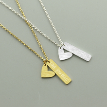 """Engraved """"Love you more """"Letters necklace with heart for Women Silver Gold Color Chain stainless steel Statement Necklace Jewels"""