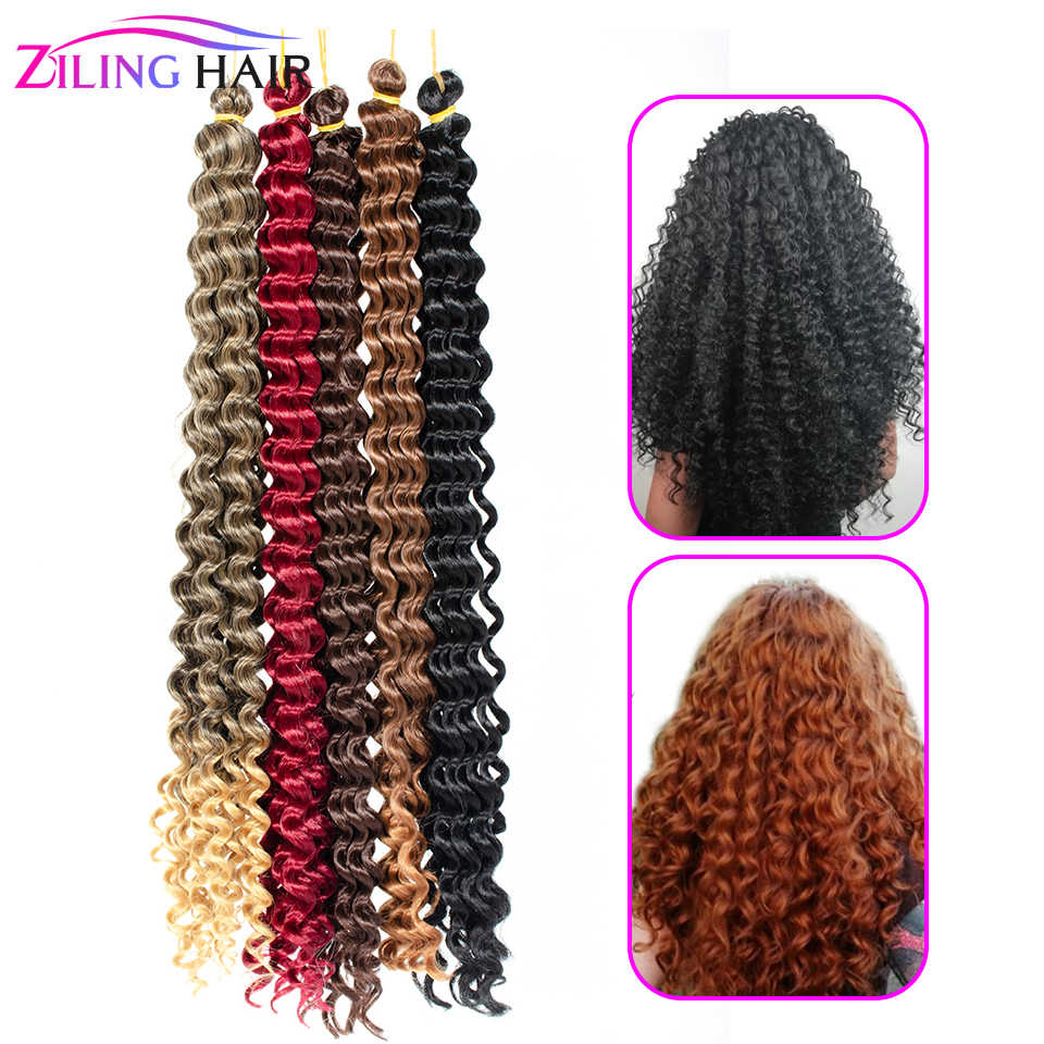 synthetic ombre Afro fake water wave curly crochet hook braiding bulk hair extension tress african curls strands braid hair