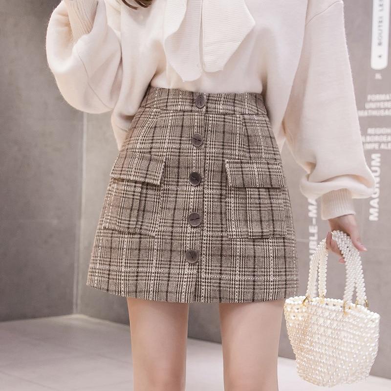 High Waist Woolen Mini Skirt Women For Winter 2019 England Style Autumn Plaid Skirt For Women Slim A-line Korean Women Skirt