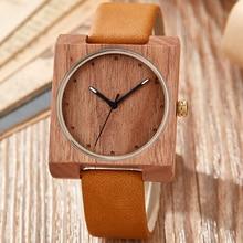 Natural Wood Watch Creative Square Dial Men Women Couple Qua