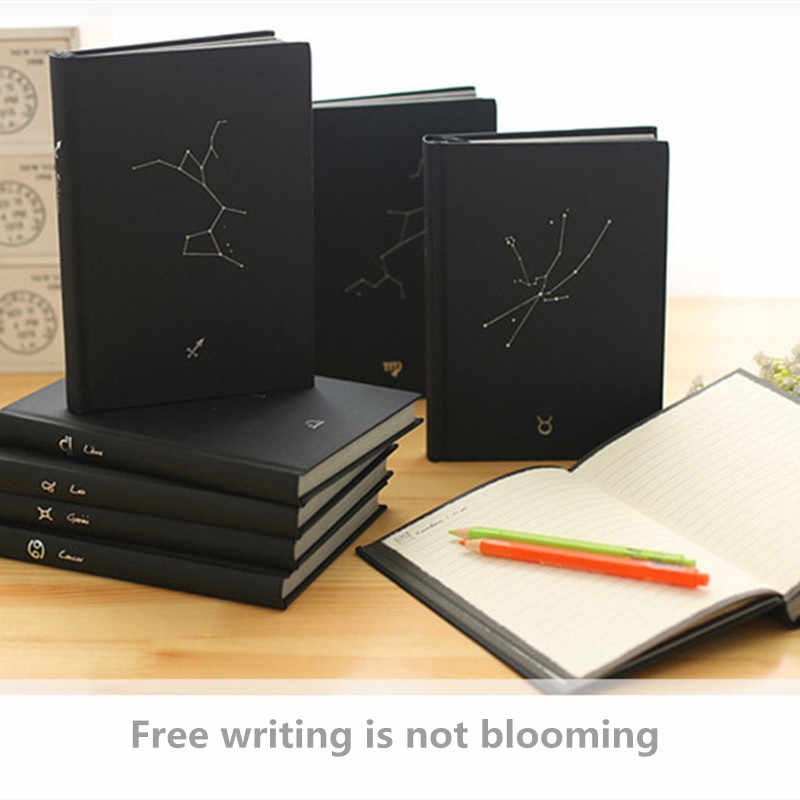 Writing Stationery Black Cover Notepad Student Stationery Constellation Hardcover Book Twelve Constellation Notebook Blank Notebook