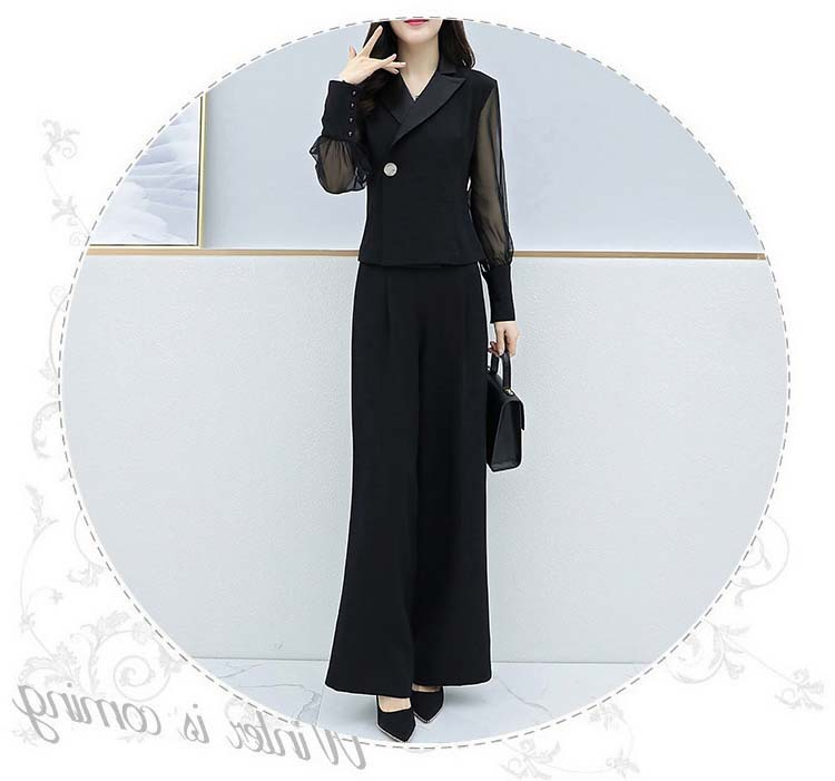 H768d214ff19849c39bb1d0fead9f9cf7e - Autumn Black Office Two Piece Sets Outfits Women Plus Size Long Sleeve Tops And Wide Leg Pants Korean Elegant Matching Suit