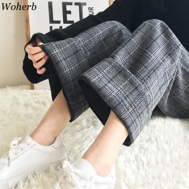 Woherb 2020 Autumn Winter Woolen Plaid Pants Women Elastic High Waist Ankle-length Pant Plus Size Harajuku Wide Leg Trousers