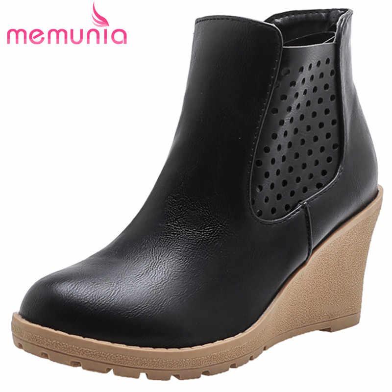 MEMUNIA 2020 yeni varış kadın yarım çizmeler oymak zip takozlar ayakkabı rahat moda rahat ayakkabılar kadın büyük boy 43