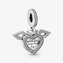 2020 Real 925 Sterling Silver Heart & Angel Wings Dangle Charm Fit 3mm Bracelet Heart & Angel Pendant DIY Jewelry Gift