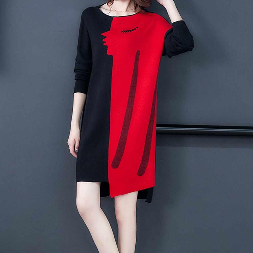 35 & hiver décontracté Mini robe nouveau femmes filles vêtements Patchwork à manches longues tricot soirée robe de soirée 2019 Femme Sukienki