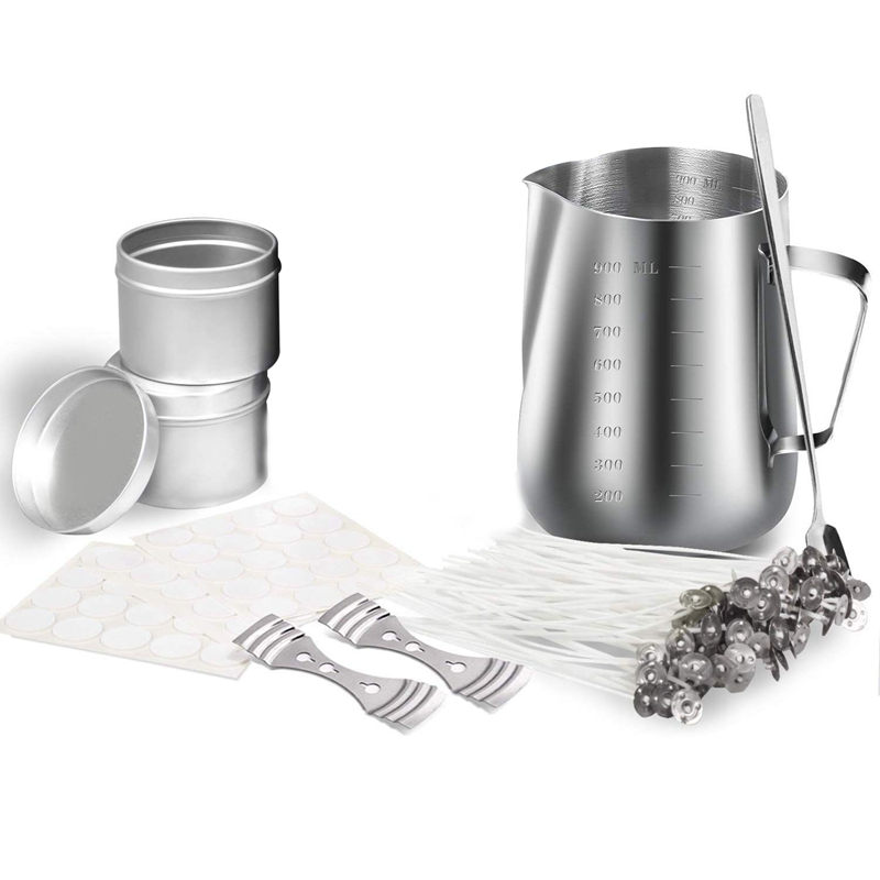 Candle Making Kit, DIY Candle Crafting Tool, 1 Candle Making Pouring Pot, 50 Candle Wicks, 50 Candle Wick Stickers And 2 3 Hole