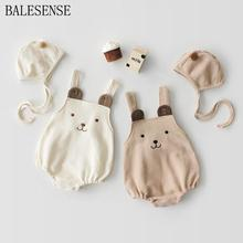 Infant Baby Boys Girl Bodysuit Cotton Cute Bear Strapless Rompers With Hat Baby Boy Romper Baby Girl Clothes New Born Body