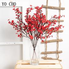 Sztuczne kwiaty 50 cm kwiat wiśni sztuczne kwiaty dekoracje ślubne jedwabne kwiaty dekoracyjne kwiatowe kwiaty sztuczne tanie tanio YO CHO cherry blossoms Kwiat Oddział Party Jedwabiu