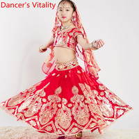 Kids Indian Dance Top Large Swing Skirt Pants Veil Sembroidered 4pcs Set Girls Oriental Belly Dancing Stage Performance Costume