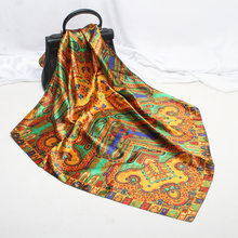 Fashion Silk Scarf Fashion Foulard Satin Shawl Scarfs Big Size 90*90cm Square silk Hair / Head Scarves Women bandana(China)
