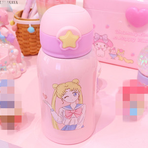 Image 2 - Sailor Moon Stainless Steel Portable Water Bottle Creative Action Figure Cartoon Leak proof Thermos Cup With Straw Gift 500ml