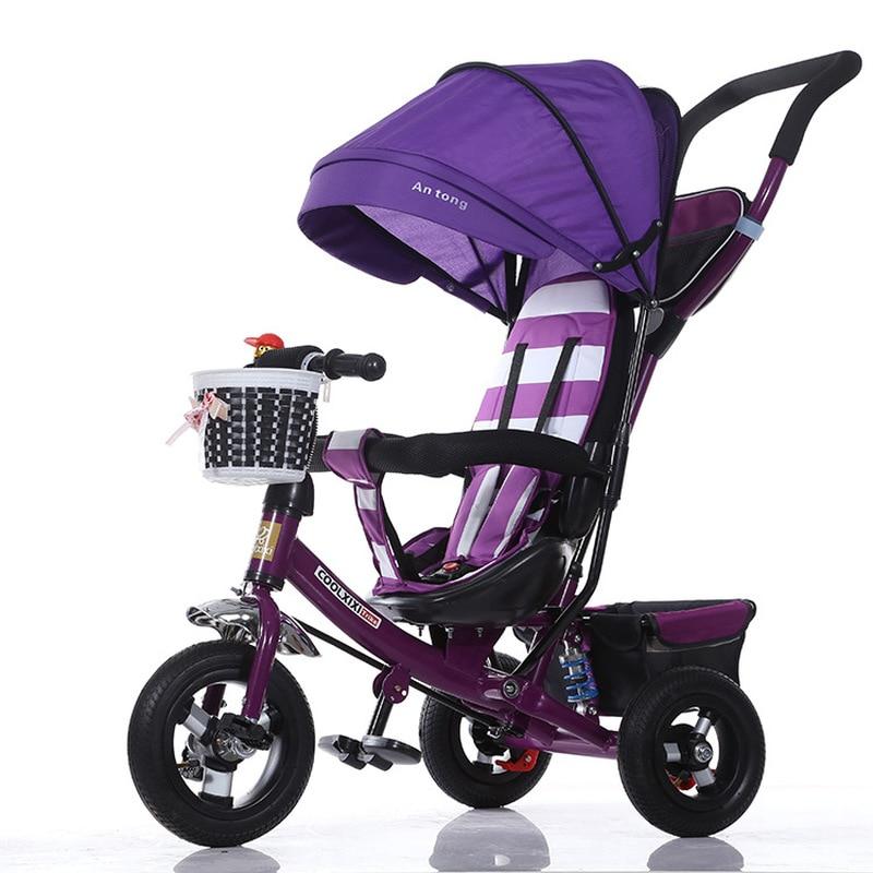 Baby Tricycle Stroller Portable Three Wheel Stroller Bike Rotating Seat Baby Car Convertible Handle Free-inflation Wheel Trike