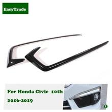 Car styling Headlight Eyebrows Eyelid Trim Eye Lid Cover For Honda Civic 10th 2016 2017 2018 2019 accessories 2pcs