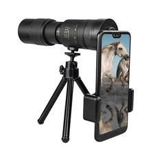 Telescópio monocular 4k super telefoto zoom 10-300x40mm telescópio com noite visionwaterproof para telefones inteligentes caça acampamento