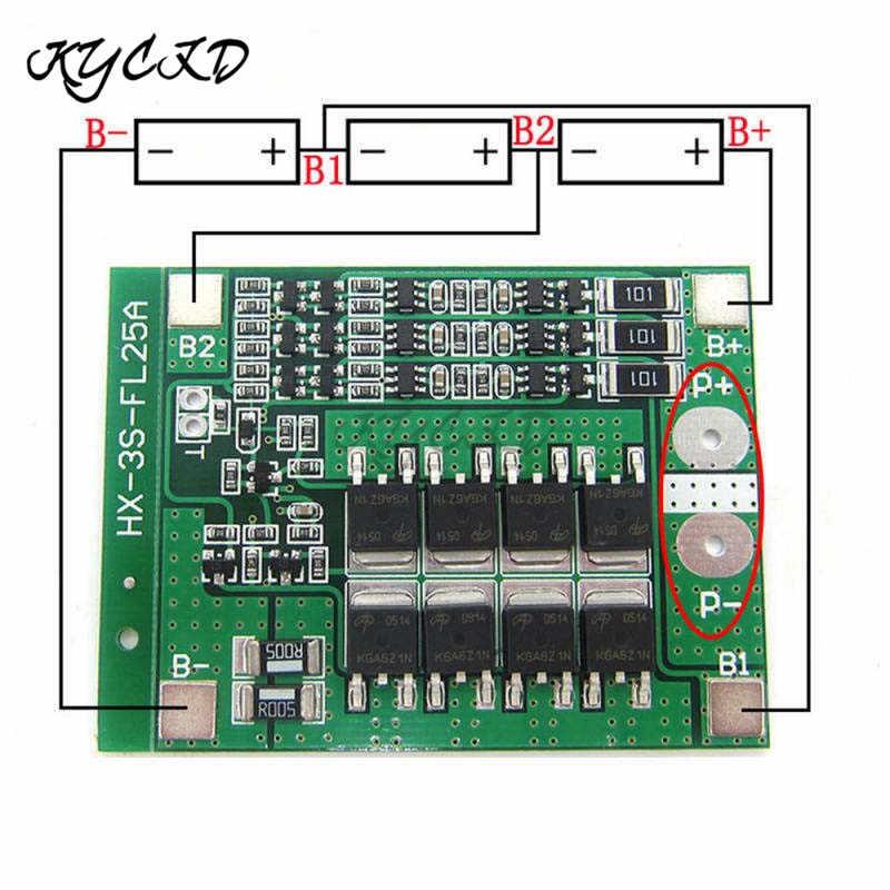 BMS 3S 12 فولت 25A 18650 بطارية ليثيوم شحن لوح حماية 18650 بطارية موازن المعادل خلية ل أدوات كهربائية