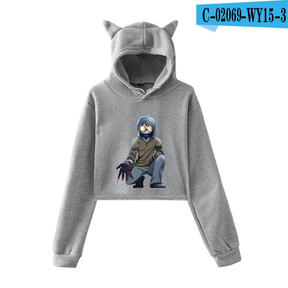 unique horror atmosphere of black humor creepypasta  print fashion trend Cat ears Top Women Hoodies Sweatshirt Sexy clothes 28