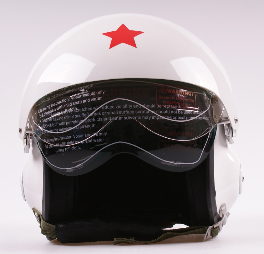 New Dual Visors Air Force Jet Pilot Open Face Motorcycle Motorbike White Scooter Vespa Helmet