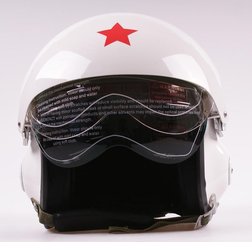 New Dual Visors Air Force Jet Pilot Open Face Motorcycle Motorbike White Scooter Vespa Helmet